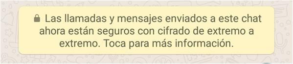 Mensaje WhatsApp Cifrado Extremo a Extremo