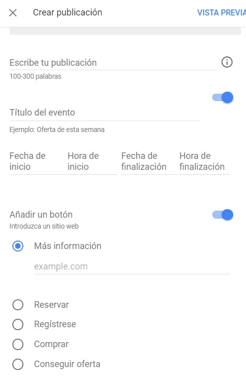 Como crear un evento en Google my Business
